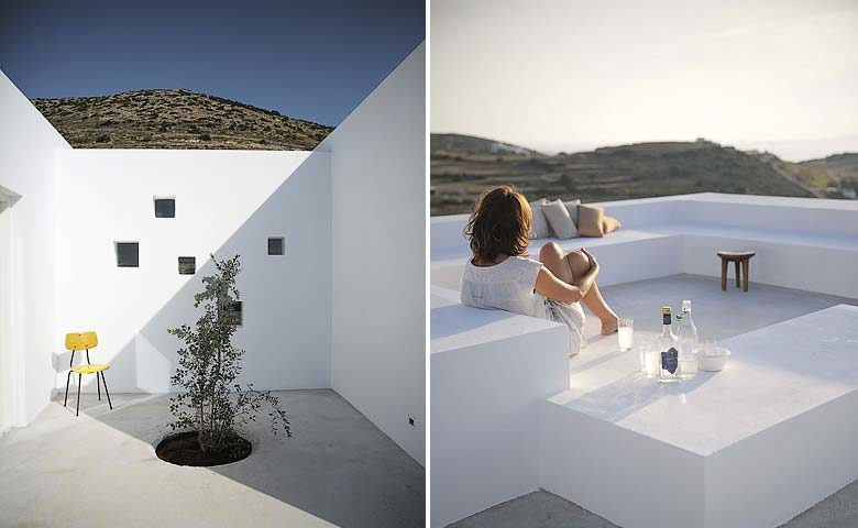 Paros Villa — Courtyard and roof terrace
