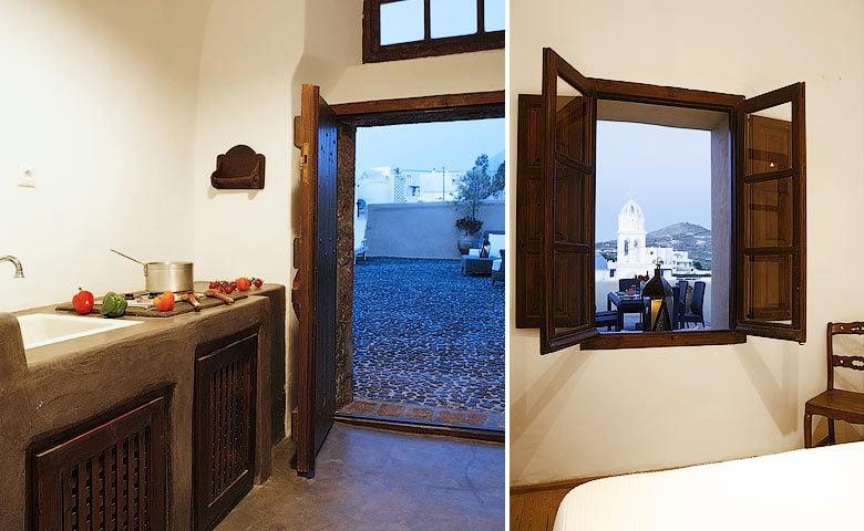 Villa Santorini II — Kitchen and bedroom view