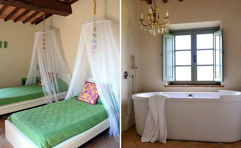 Podere Palazzo — Bedroom and bathroom