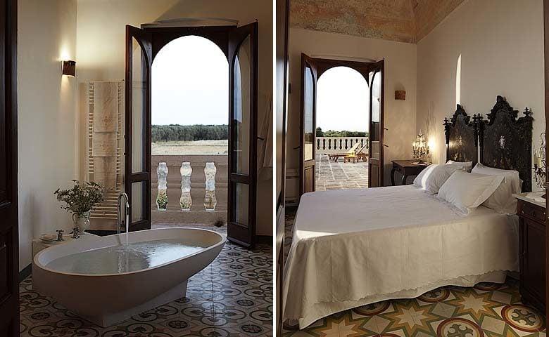 Villa Pizzorusso — Bedroom and bathroom