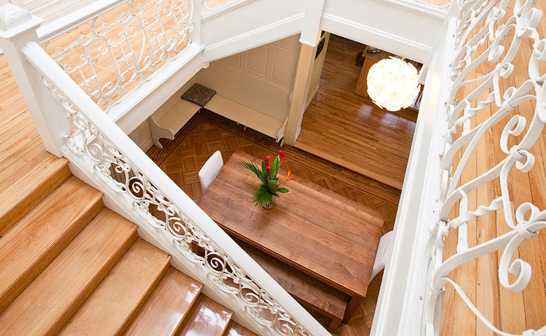 Casa Bianca — Staircase and dining area