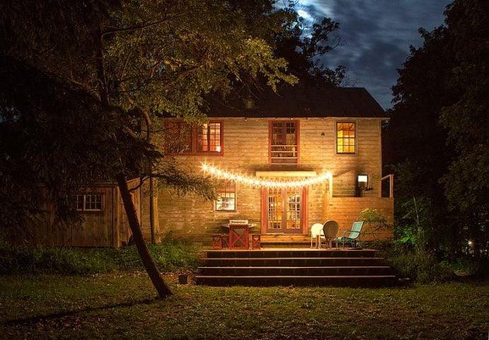 Rustic Homestead — Exterior at night