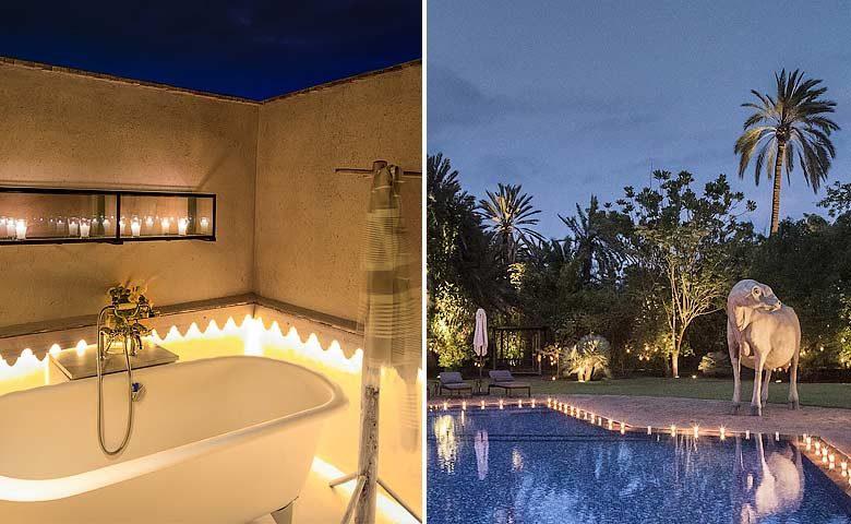 Artist Villa — Outside bathtub and pool