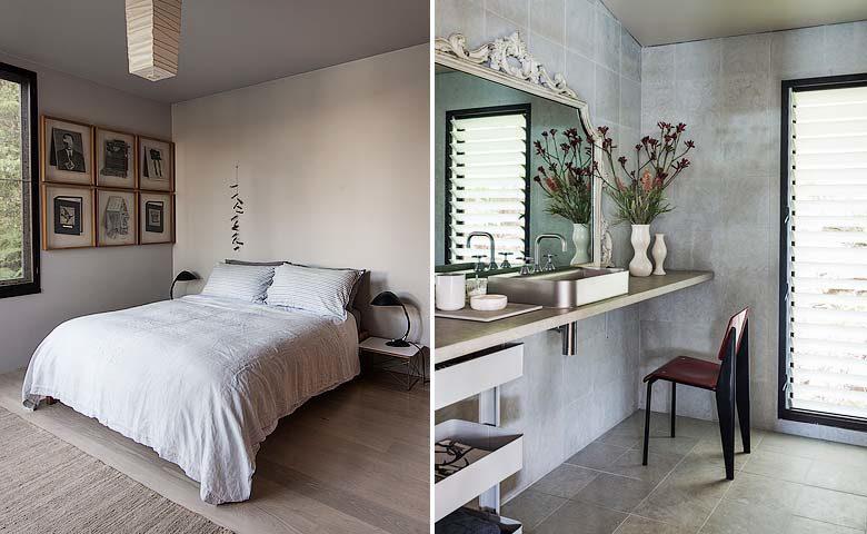 The Dangar Island House — Aecond bedroom and main bathroom
