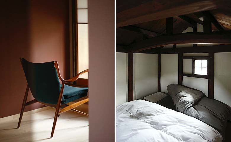 Nichinichi Townhouse — Bedroom and downstairs seating