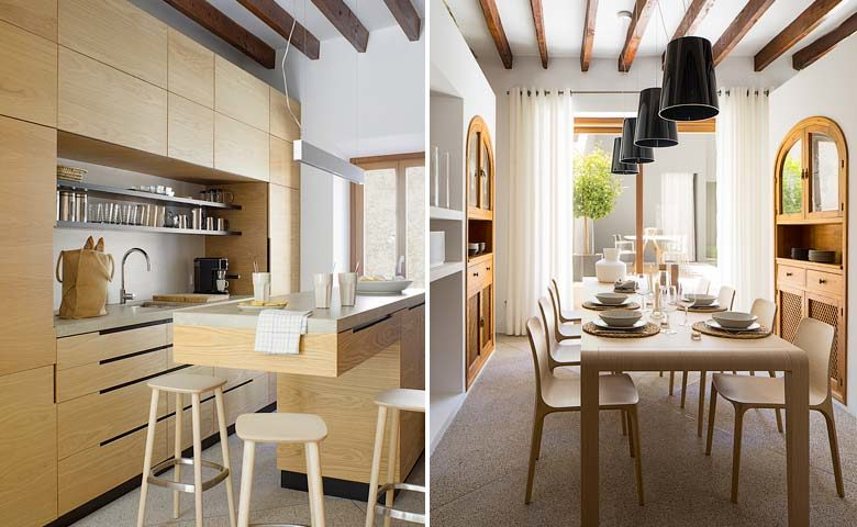 Pollença Town House — Kitchen and dining area